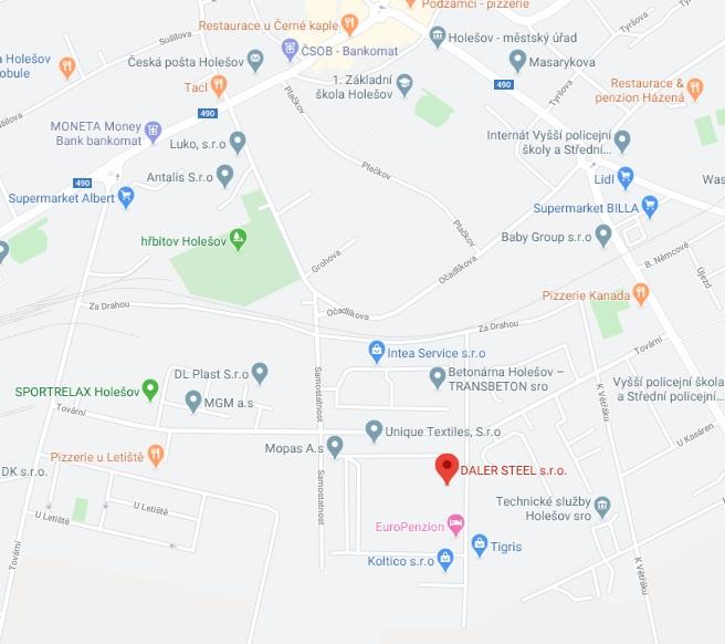 Mapa provozovny DALER STEEL s.r.o.